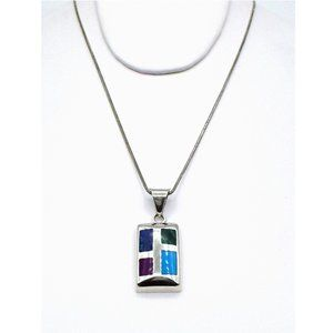 Jewelry - Artistic 925 Geometric Inlay Necklace